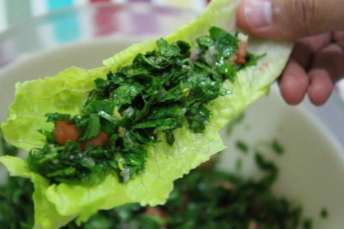 tabboule in lettuce