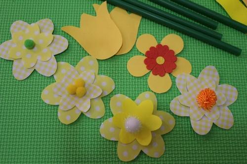 daisy, tulip and geranium