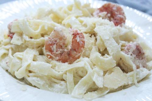 creamy shrimp tagliatelle
