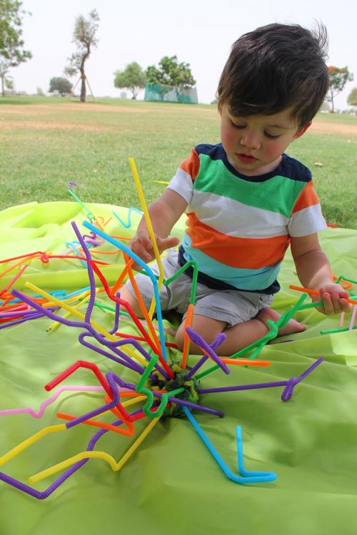 straws statue- fine motor activity