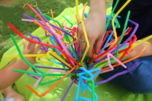 straws sculpture - fine motor activity
