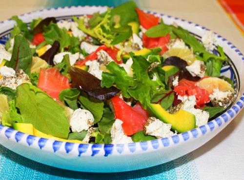 salmon avocado and goat cheese salad