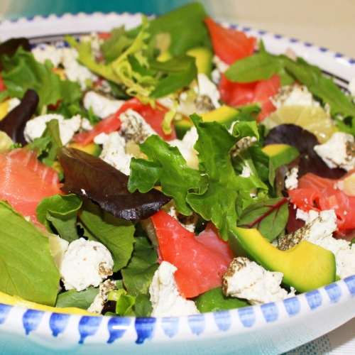 salmon avocado and goat cheese salad