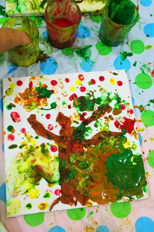 tree with homemade fingerpaint
