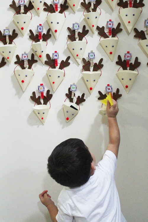 advent calendar with reindeers