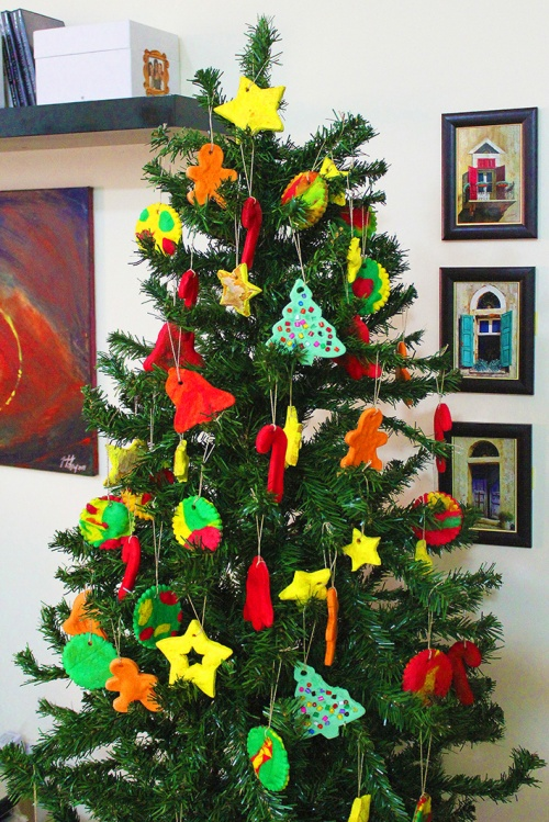 christmas tree with handmade ornament