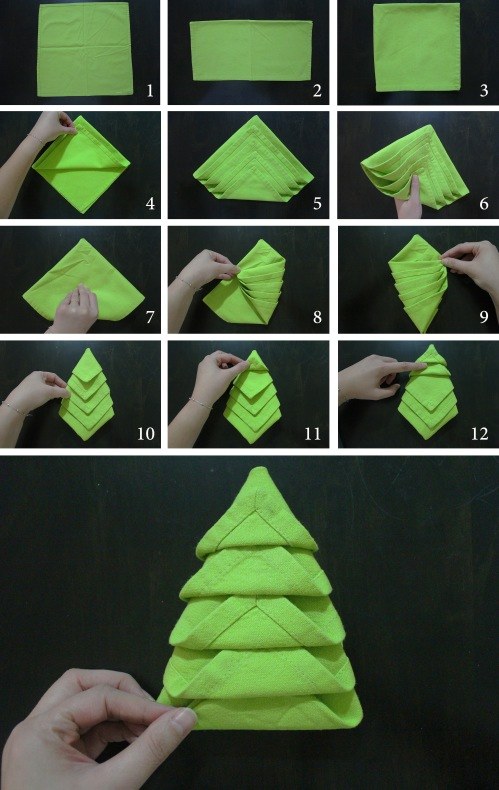 how to do-christmas napkin fold - Napkin Folding Christmas Tree Marmite Et Ponpon