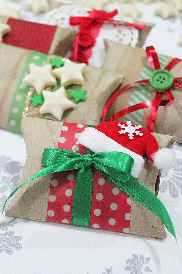 From a toilet paper roll to a beautiful christmas gift box for Paper christmas gifts