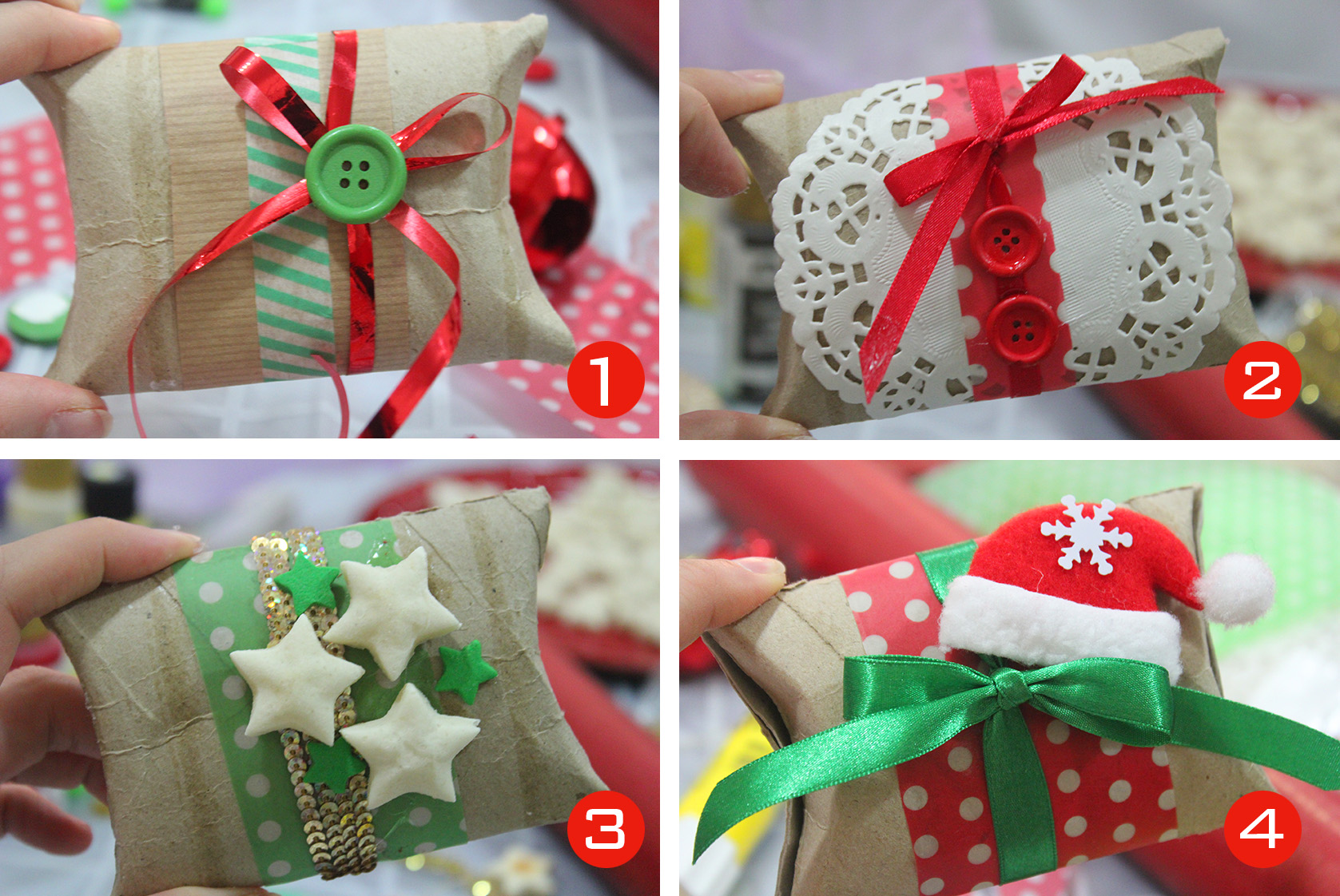 From a toilet paper roll to a beautiful christmas gift box Toilet paper roll centerpieces