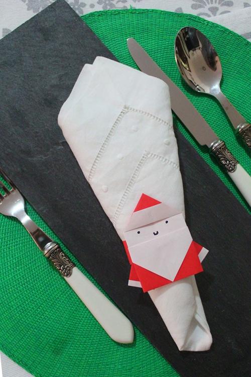 origami santa-napkin ring