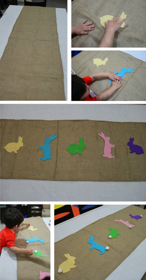how to make burlap easter bunny runner