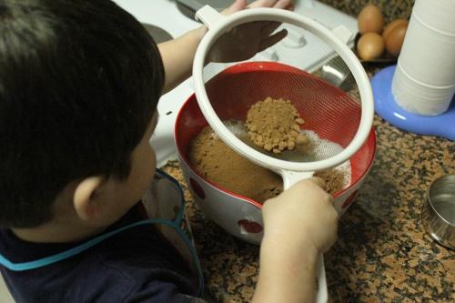 sifting cocoa