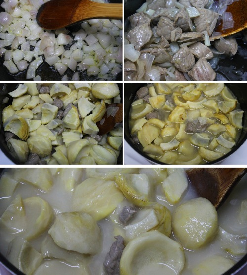 step by step artichoke stew