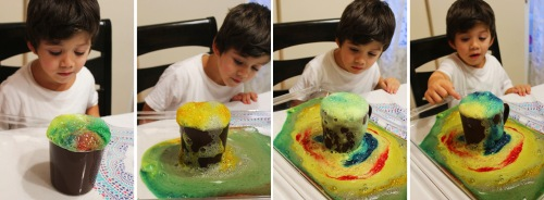 Volcanic eruptions and rainbow lava experiment