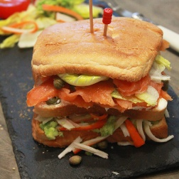 smoked salmon and crab sandwich by marmite et ponpon