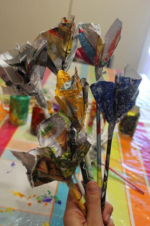 19-Magazine flowers & food jar vase - recycling craft|marmite et ponpon