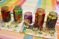 3-Magazine flowers & food jar vase - recycling craft marmite et ponpon