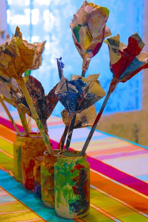 Magazine flowers & food jar vase - recycling craft| marmite et ponpon