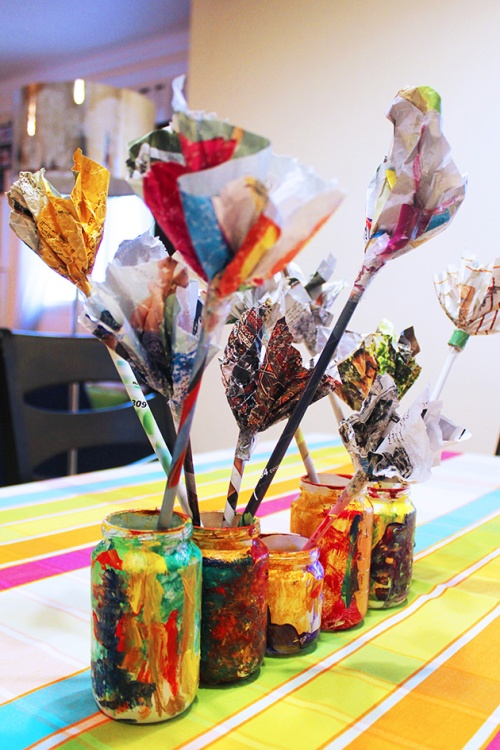 Magazine flowers & food jar vase - recycling craft|marmite et ponpon