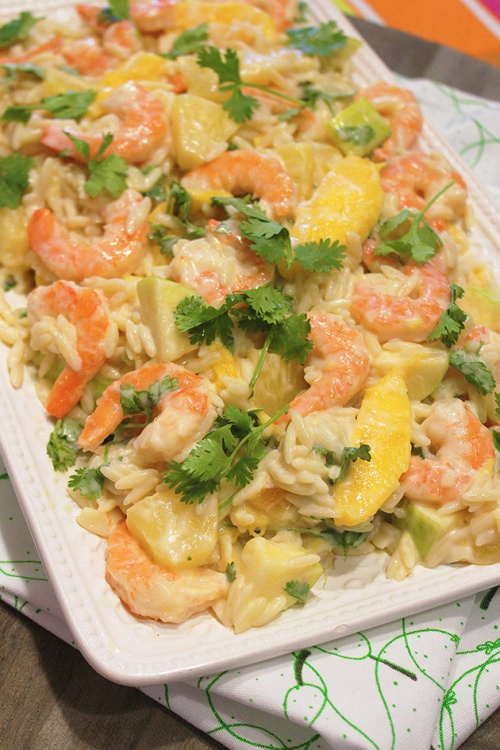 Shrimp and orzo salad with tropical fruits |marmite et ponpon