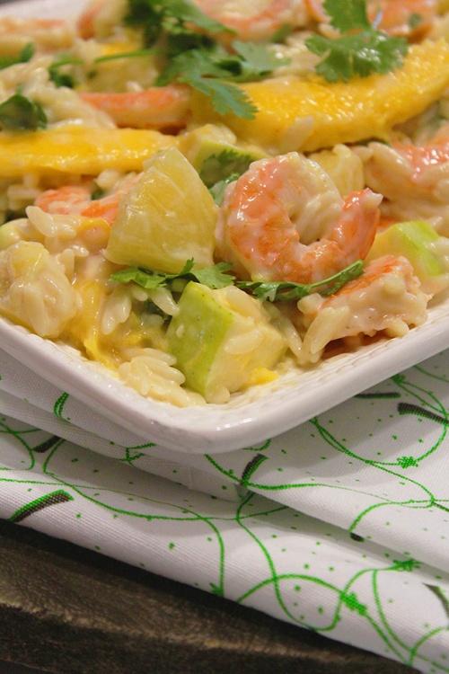 Shrimp orzo salad with tropical fruits |marmite et ponpon