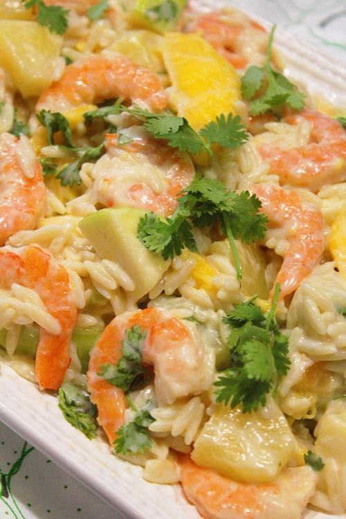 Shrimp orzo salad with tropical fruits|marmite et ponpon