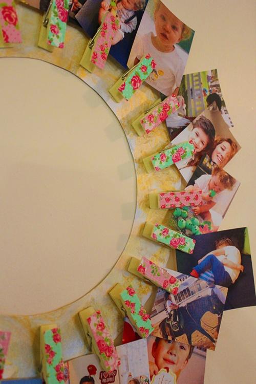 clothpins wall frame DIY|marmite et ponpon