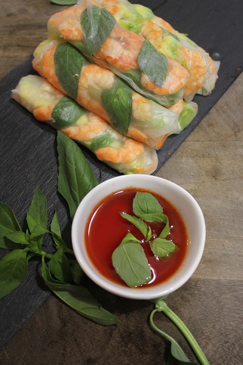 Basil, shrimp, avocado and mango fresh rolls|marmite et ponpon