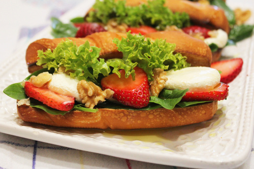 Boursin cheese,spinach and strawberry
