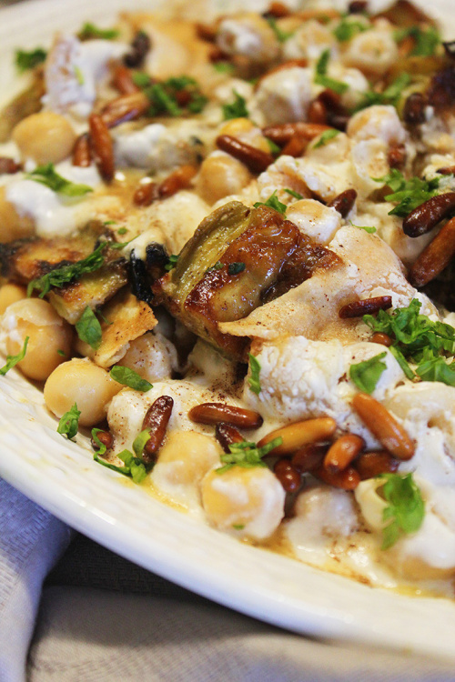 Fatteh batenjen – chickpeas, aubergine, yogurt and pita