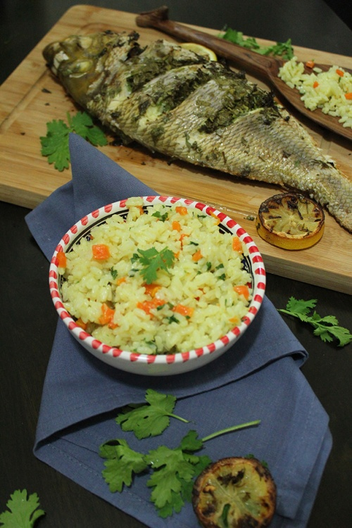 ginger scented rice pilaf with whole roast fish