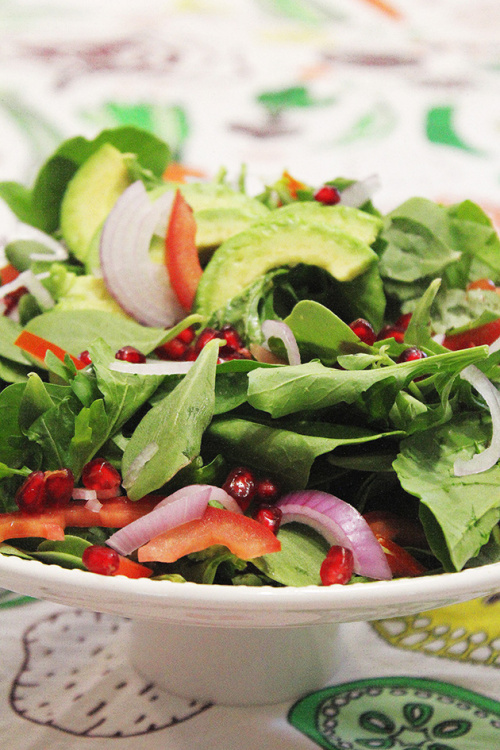 purslane, avocado and rocket salad