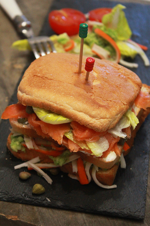 Smoked salmon and crab sandwich
