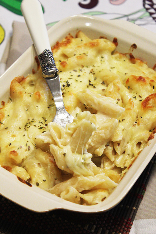 Three cheese and white wine penne