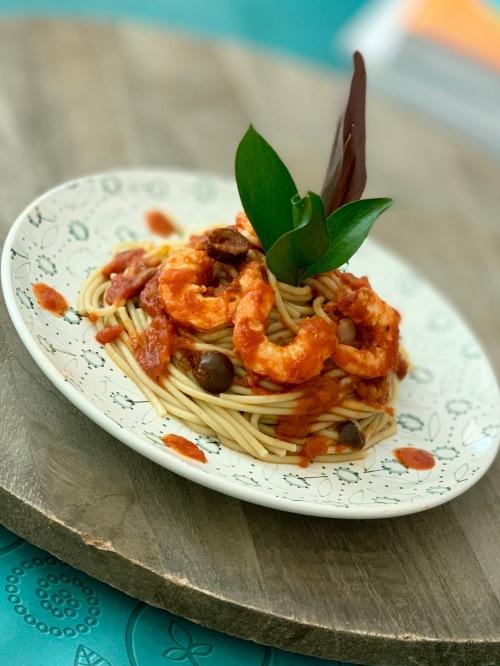 veggie spaghetti with shrimps |marmite et ponpon