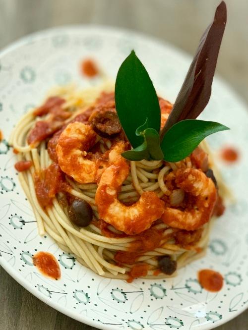 veggie spaghetti with shrimps | marmite et ponpon