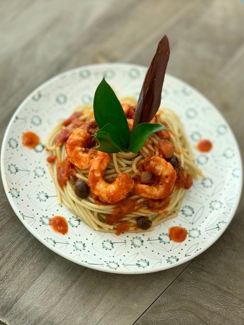 veggie spaghetti with shrimps| marmite et ponpon