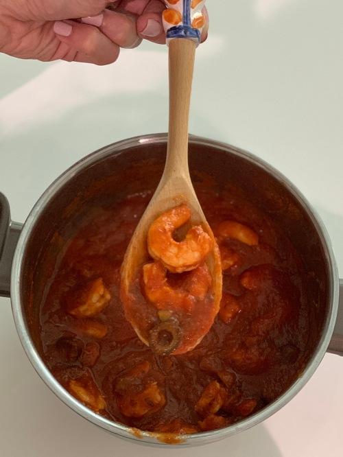 veggie spaghetti with shrimps|marmite et ponpon